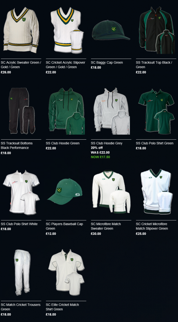 Snapshot of Cheriton CC's Team Shop