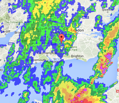Weather Radar courtesy off RainAlarm at 10:00